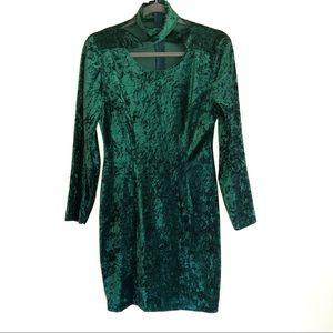 Dresses & Skirts - Velvet Long Sleeved Criss-cross Neckline Dress